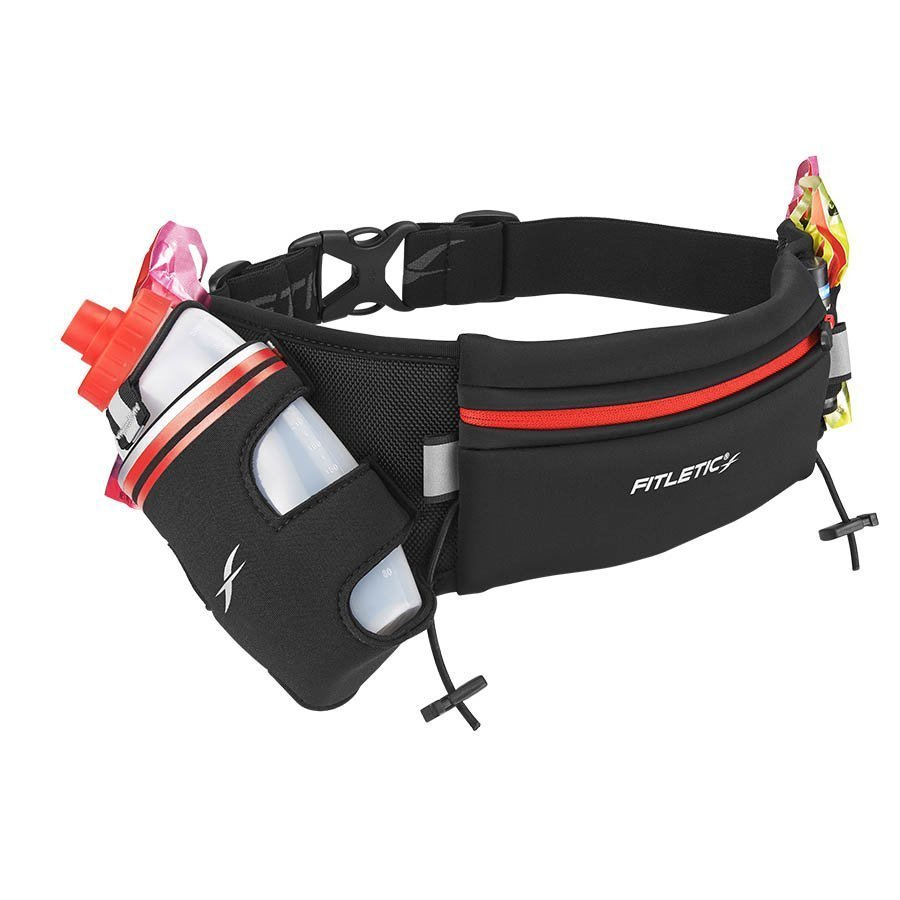 fully loaded hydration running belt red