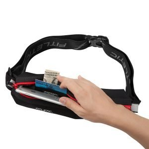 Red Neo II Running Belt showing inside contents