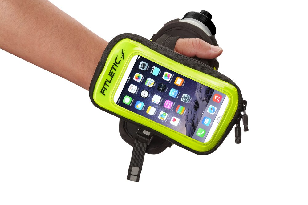 hydra palm bottle hand holder reflective green with phone