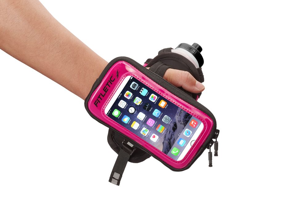 hydra palm bottle hand holder reflective pink with phone