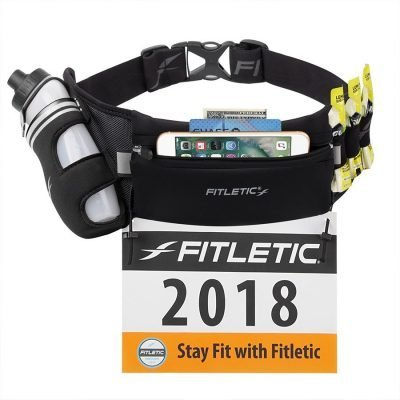 hydration running belt with water bottle and gel loops for marathons