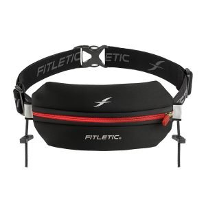 running belt with toggles red