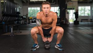 kettlebell workout with hydralock arm band
