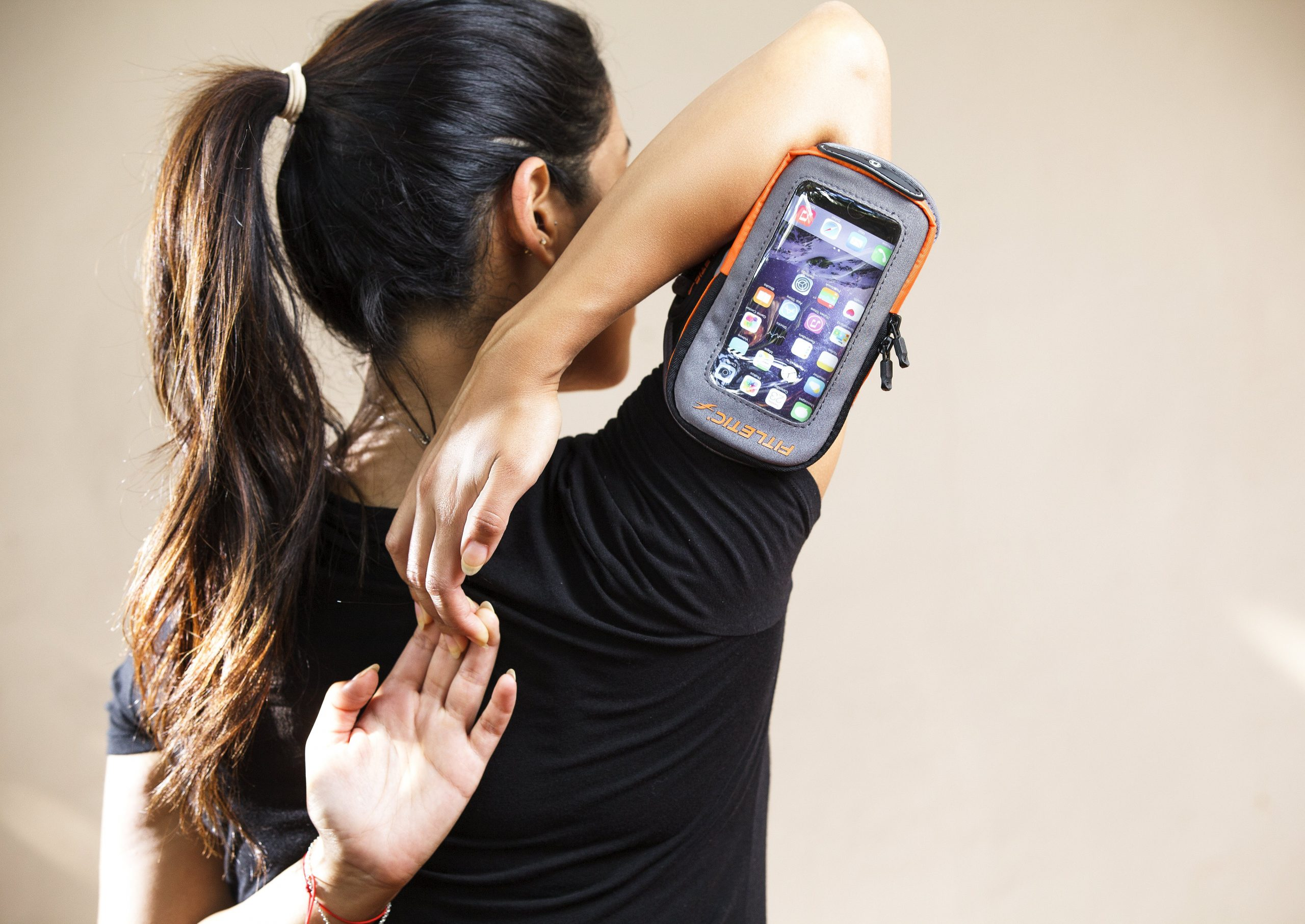 stretching with hydralock arm band