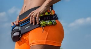 Hydration belt with water bottle and gel loops for running
