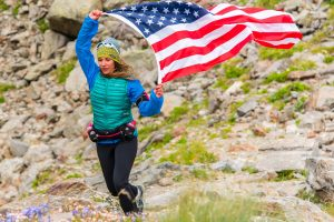 runner with American flag
