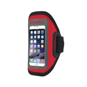 surge running armband for phone lightweight red